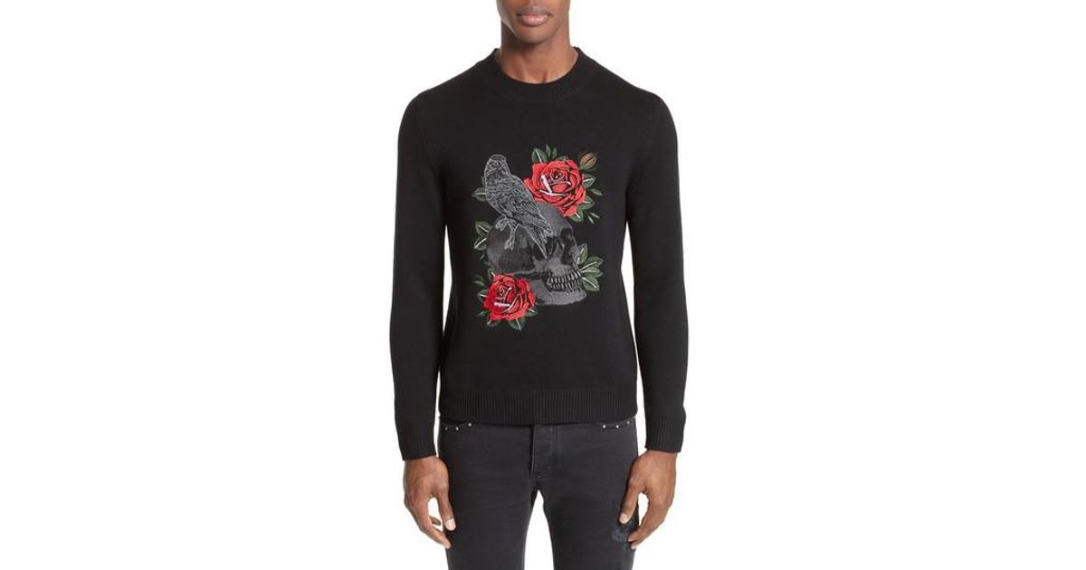 5827df22846 Lyst - The Kooples Embroidered Skull Wool Blend Sweater in Black for Men