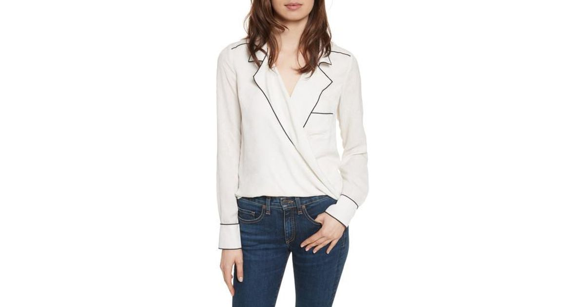 7931b092e9affc Lyst - Veronica Beard Worth Silk Blouse in White