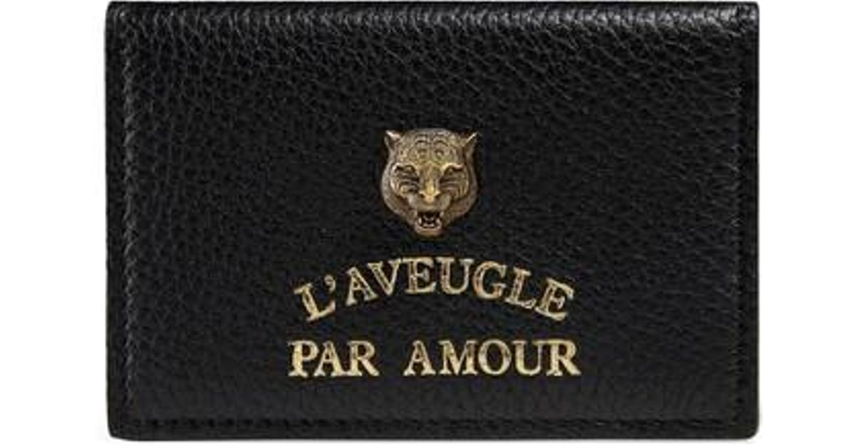 Lyst - Gucci L\'aveugle Par Amour Leather Card Case in Black