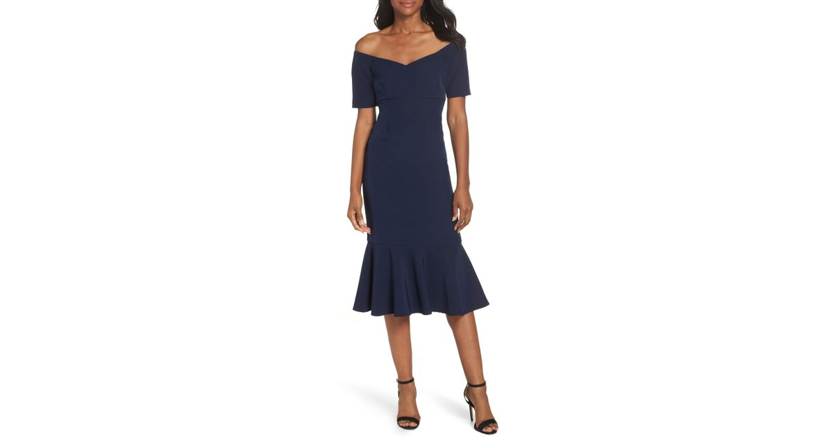 126eb3cf Lyst - Maggy London Dream Crepe Off The Shoulder Midi Dress in Blue - Save  40.57971014492754%