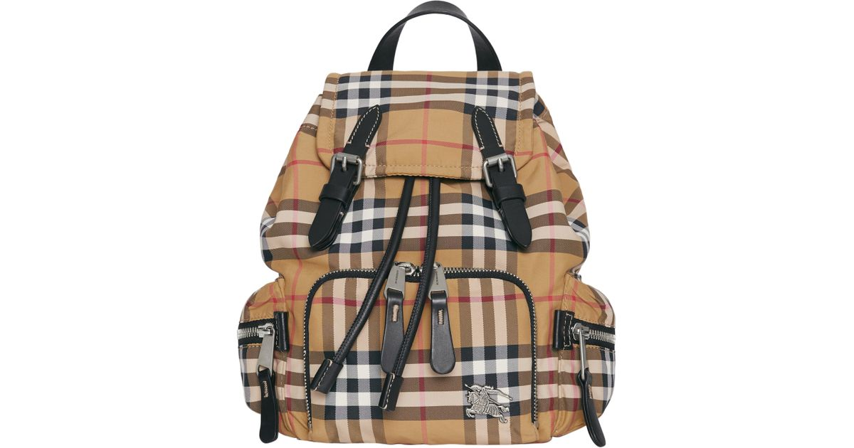 Lyst - Burberry Small Rucksack Vintage Check Nylon Backpack in Black f71de919d6140