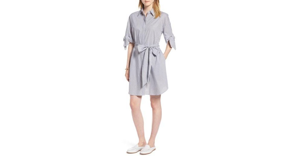 9d35fdb90cbfc Lyst - Nordstrom 1901 Stripe Shirtdress in Gray