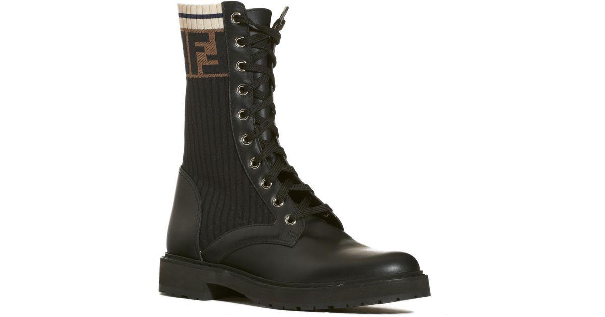 d56e3294024 Lyst - Fendi Rockoko Chelsea Sock Combat Boot in Black
