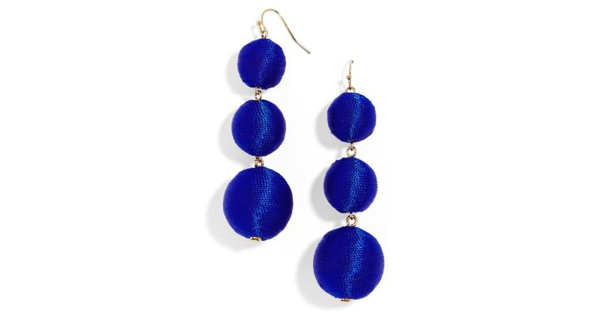 bright drop dangle long earrings blue boutique royal swarovski crystal pears