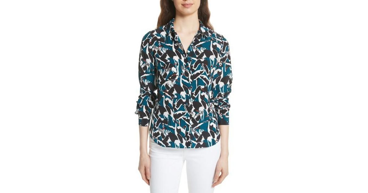 0d2224abed51 Ted Baker Colour By Numbers Crane Print Silk Shirt in Blue - Lyst