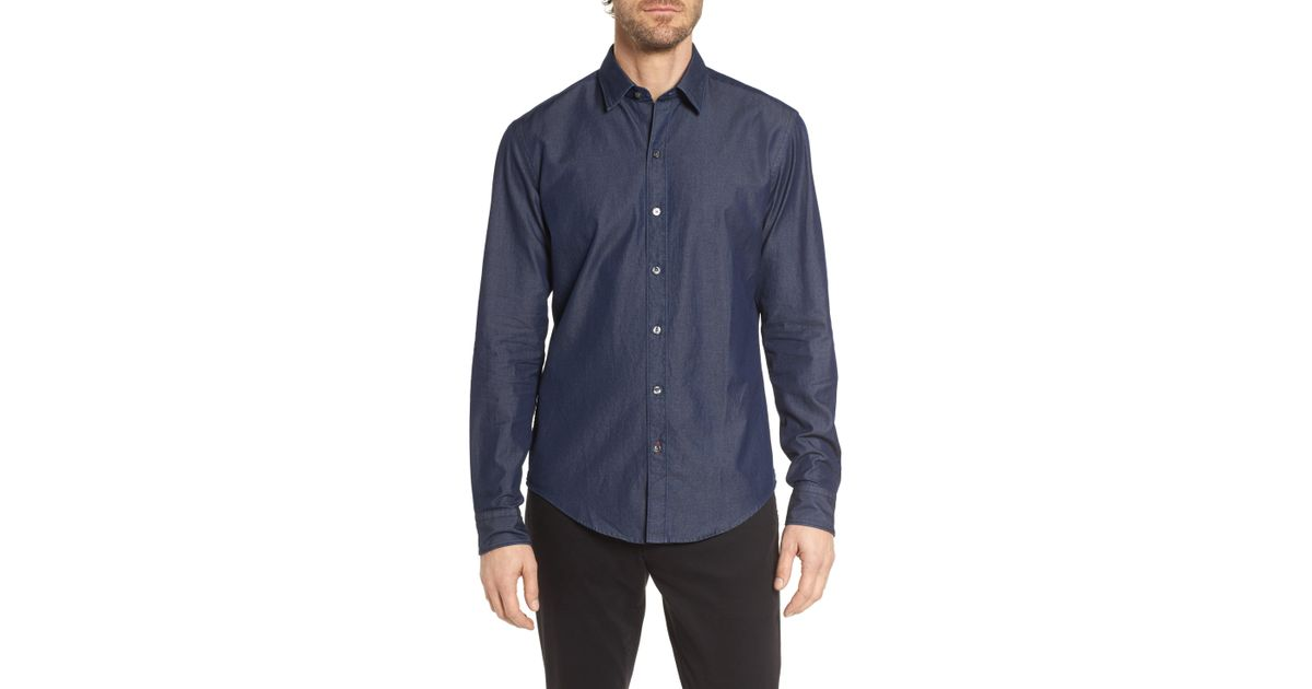 4d9dc3f43 Lyst - BOSS Robbie Sharp Fit Denim Sport Shirt in Blue for Men - Save 77%