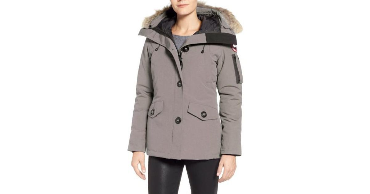 Lyst - Canada Goose Montebello Slim Fit Down Parka With Genuine Coyote Fur Trim in Gray