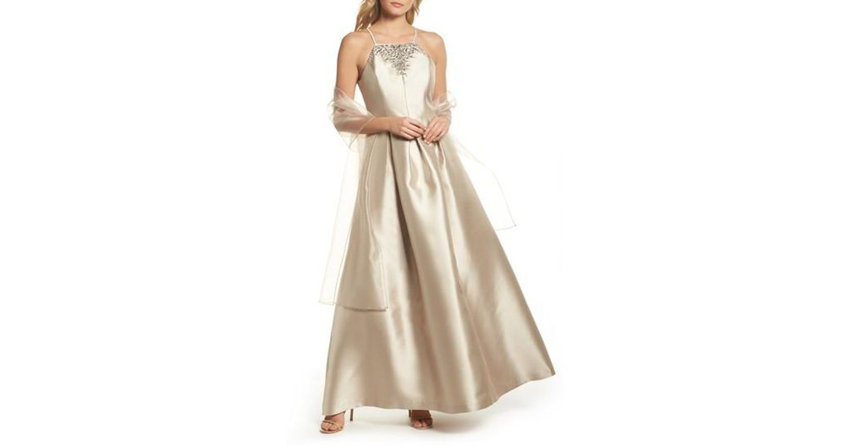 Lyst - Vince Camuto Beaded Neck Mikado Ballgown With Shawl in Natural