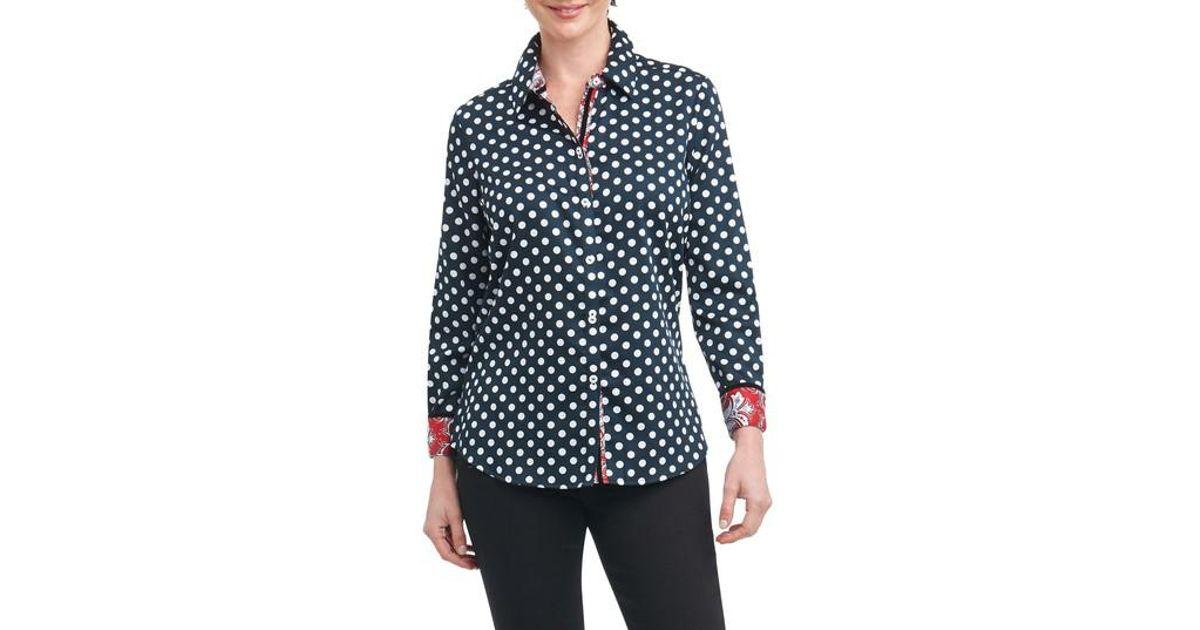 e90aef4ed9b26 Lyst - Foxcroft Ava Dot Paisley Trim Shirt in Black