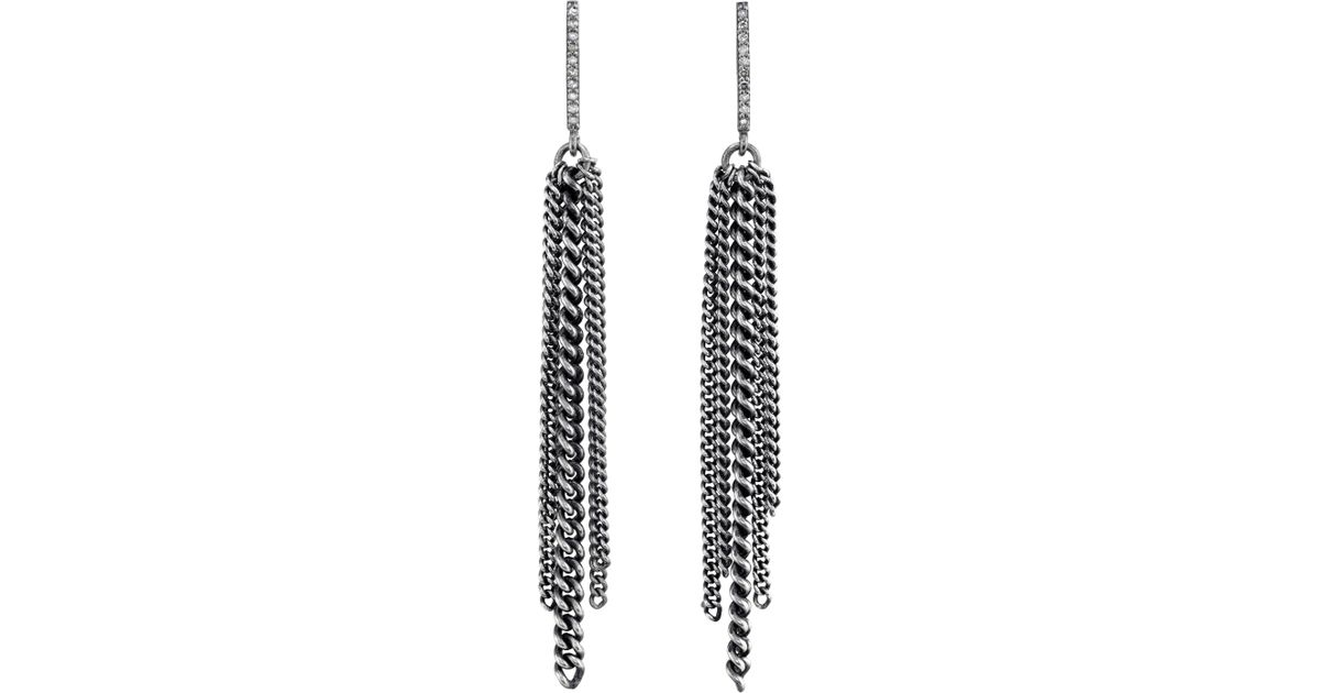 acbafcfe5 Lyst - Sheryl Lowe Bar Fringe Earrings With Pave Diamonds in Metallic