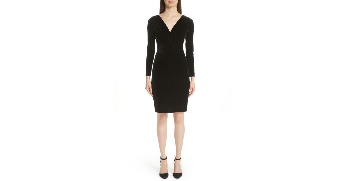 45108d84271 Lyst - Emporio Armani Velvet Wrap Bodice Body-con Dress in Black