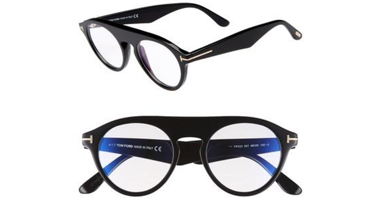 d95304d13a1f Lyst - Tom Ford Christopher 49mm Round Blue Block Optical Glasses - in Blue