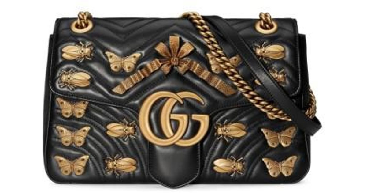 5c38ceac13e4 Lyst - Gucci Medium Gg Marmont 2.0 Animal Stud Matelasse Leather Shoulder  Bag in Black