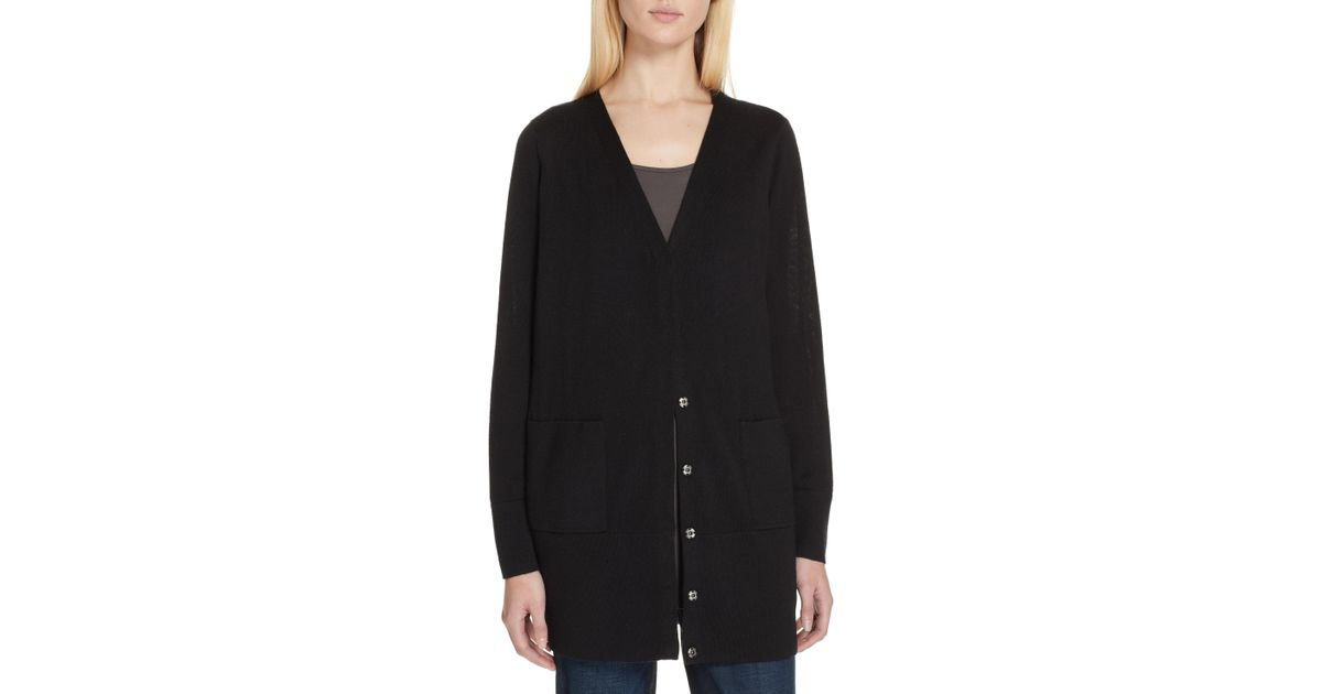 f5e7830e286a Eileen Fisher Snap Front Merino Wool Cardigan in Green - Lyst