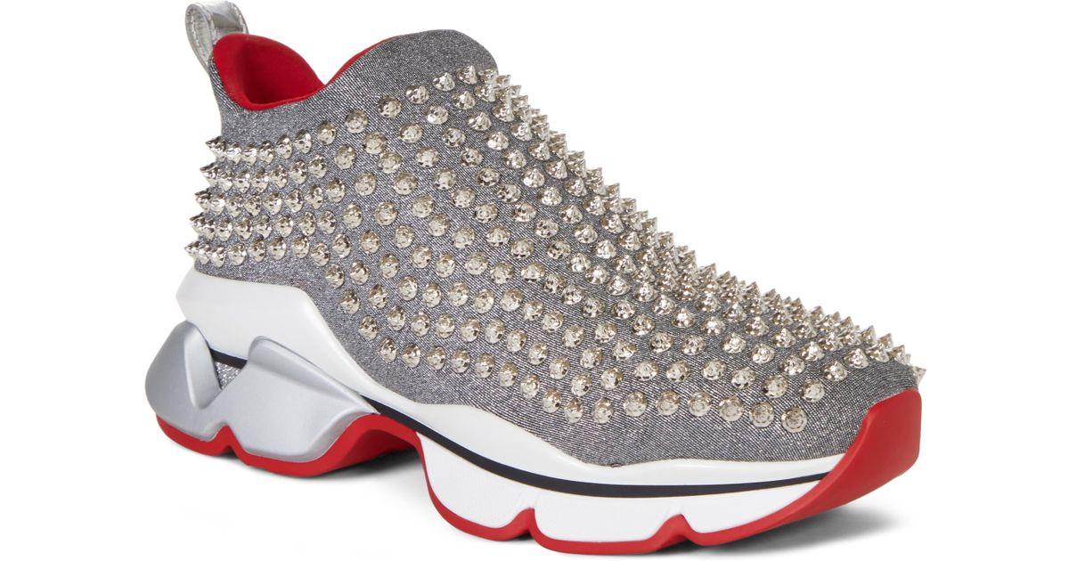 d176ba5199b Christian Louboutin - Metallic Spiky Sock-knit Slip-on Sneaker - Lyst