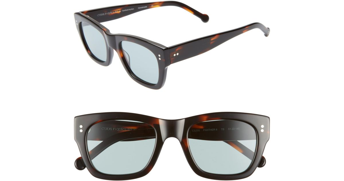 a5f19d586 Colors In Optics Panther 51mm Mirrored Rectangular Sunglasses - Lyst