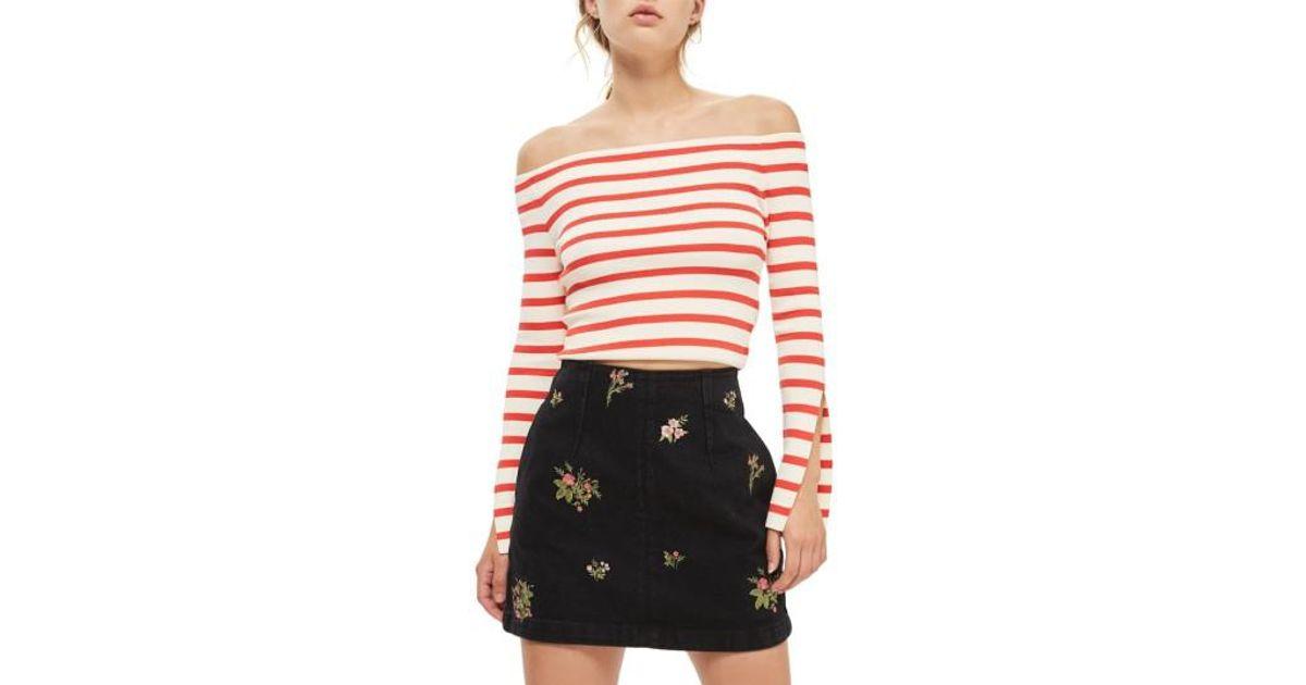 b96e1b3320 TOPSHOP Romantic Floral Denim Miniskirt in Pink - Lyst