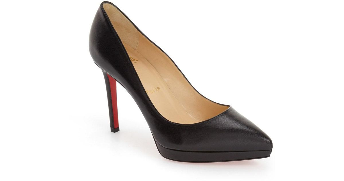 d8593aef65e2 Lyst - Christian Louboutin Pigalle Plato Pointed-Toe Leather Pumps in Black