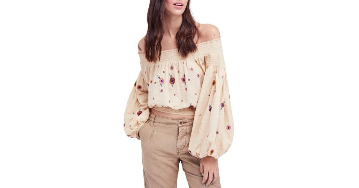 392fc84790ac7 Lyst - Free People Saachi Smocked Off The Shoulder Top in Blue