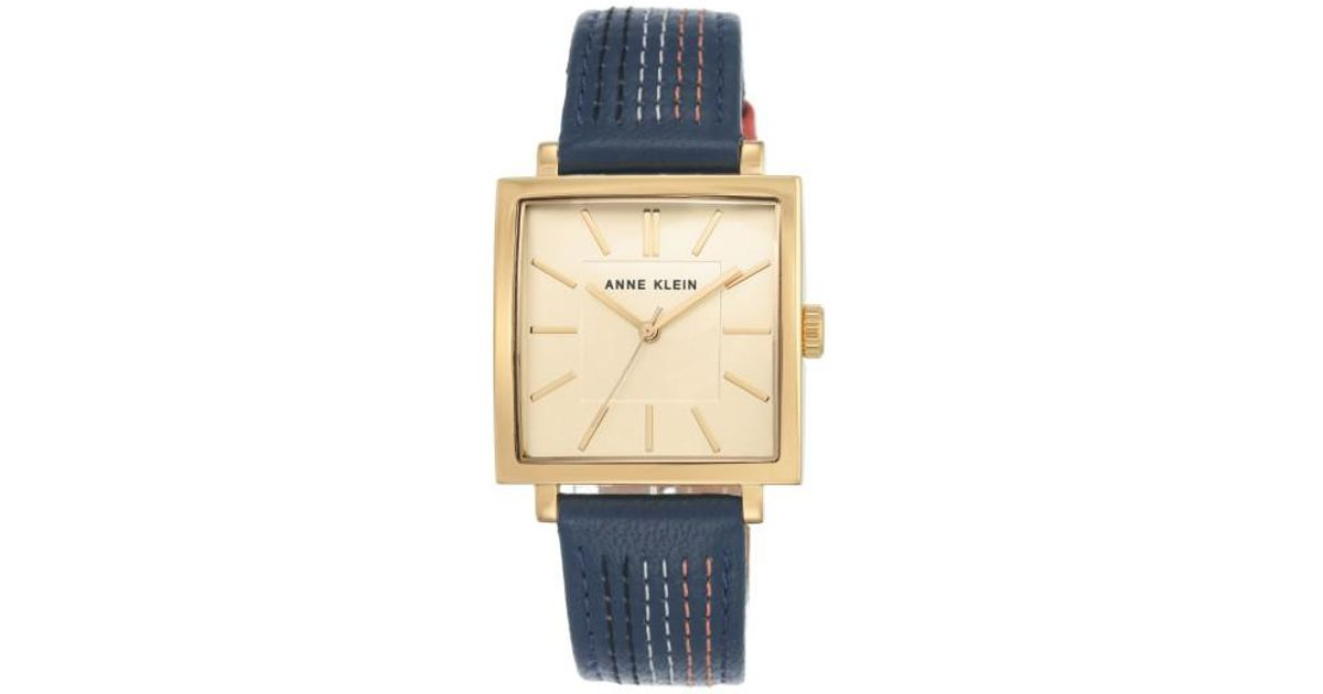 33b26ad34 Lyst - Anne Klein Square Leather Strap Watch in Metallic