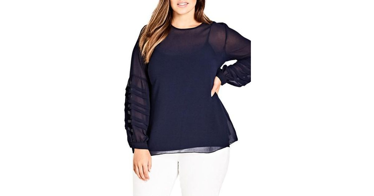 9f320c77f72 Lyst - City Chic Seraphina Balloon Sleeve Top in Blue