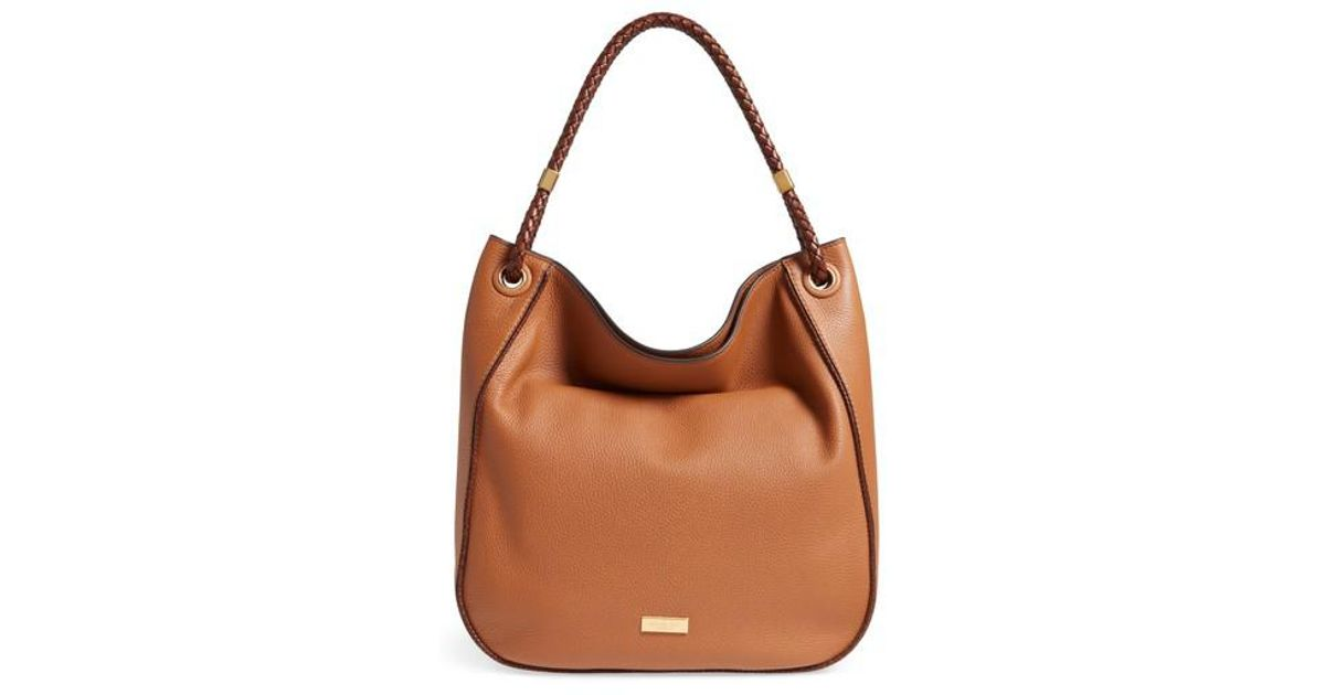 586dcb82ae91 ... inexpensive lyst michael kors skorpios leather hobo in brown 9fa6e ac21d