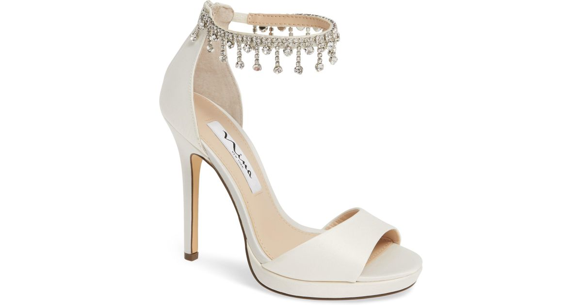 556ae77ac99 Lyst - Nina Feya Embellished Ankle Strap Sandal