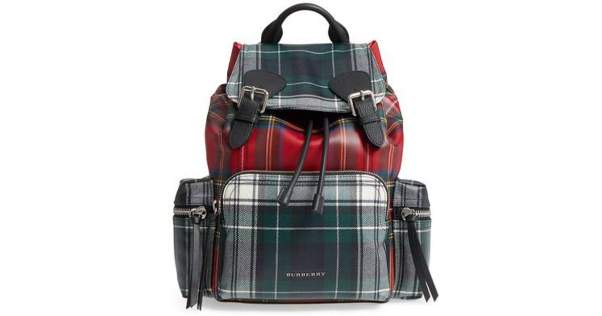 8c1461c90 Burberry Tartan Patchwork Backpack in Red - Lyst