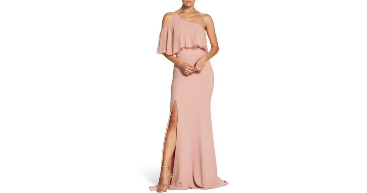 c8b00816e34 Lyst - Dress the Population Faith One-shoulder Flounce Crepe Gown in Pink