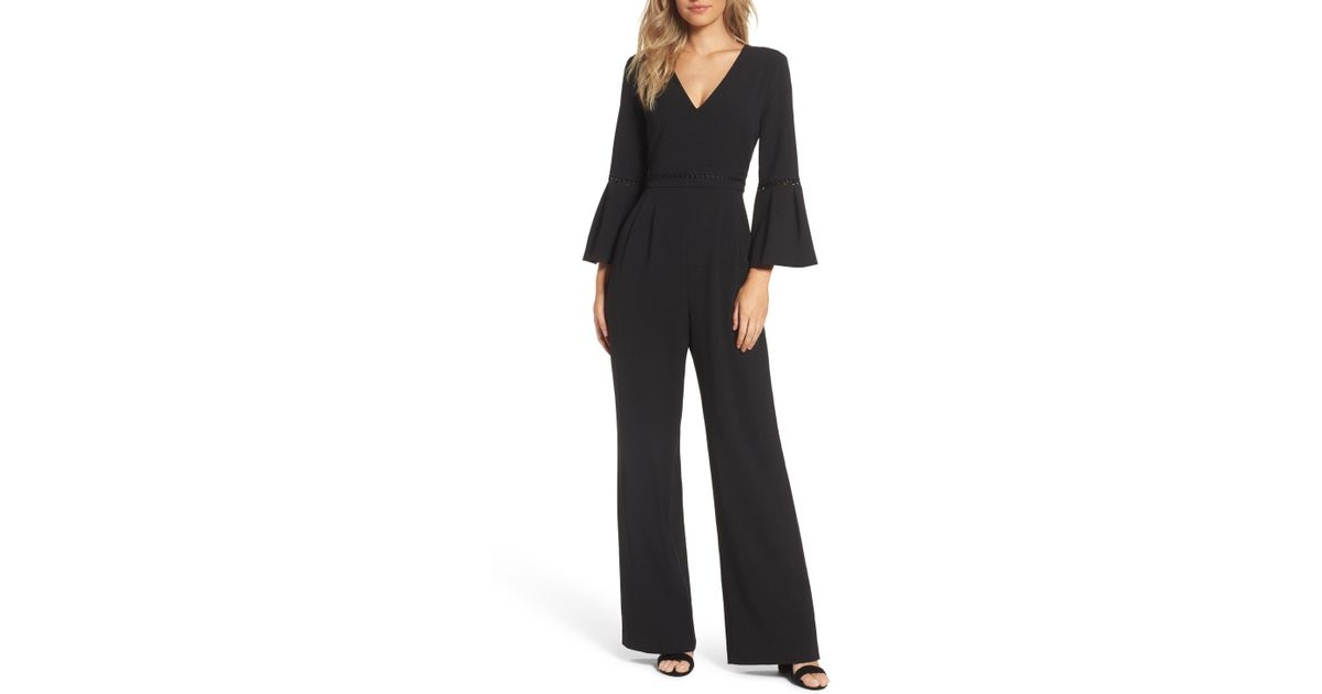 54d2a35011b Eliza J Bell Sleeve Wide Leg Jumpsuit in Black - Save 35% - Lyst