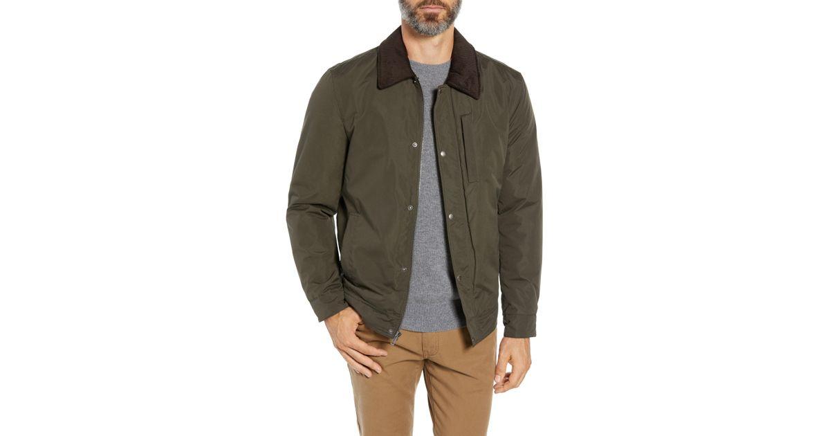 Cole Haan Signature Mens City RAIN BARN Jacket with Corduroy Collar