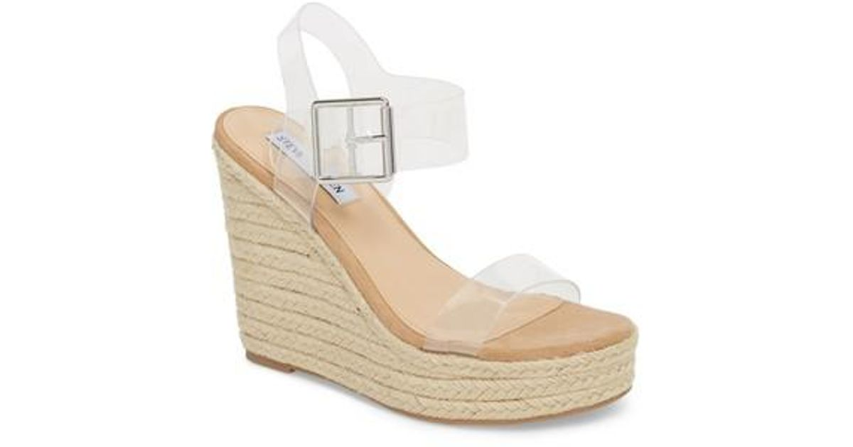 c025880600dc Lyst - Steve Madden Splash Transparent Strap Wedge Sandal