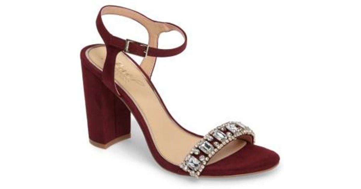 1b0b62f2215 Lyst - Badgley Mischka Hendricks Embellished Block Heel Sandal