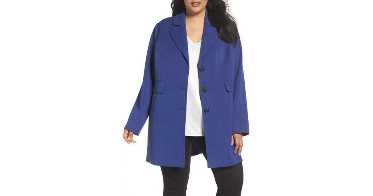 096a1626388 Lyst - Kenneth Cole Single Breasted Ponte Coat in Blue