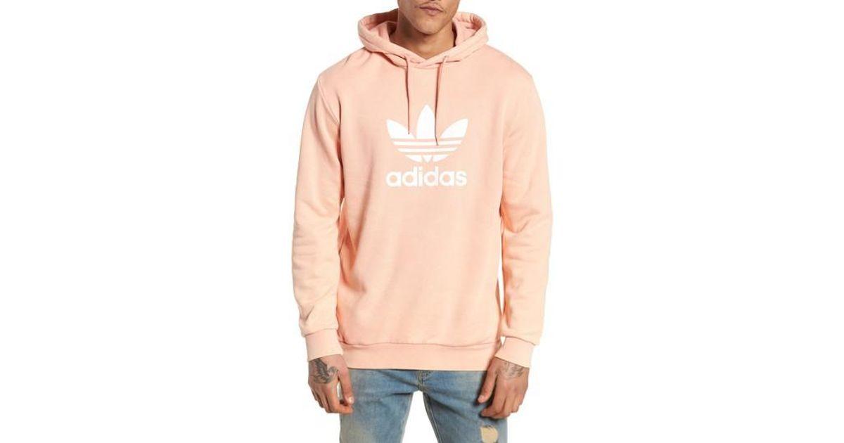 Adidas Originals Pink Trefoil Cotton Hoodie for Men Lyst