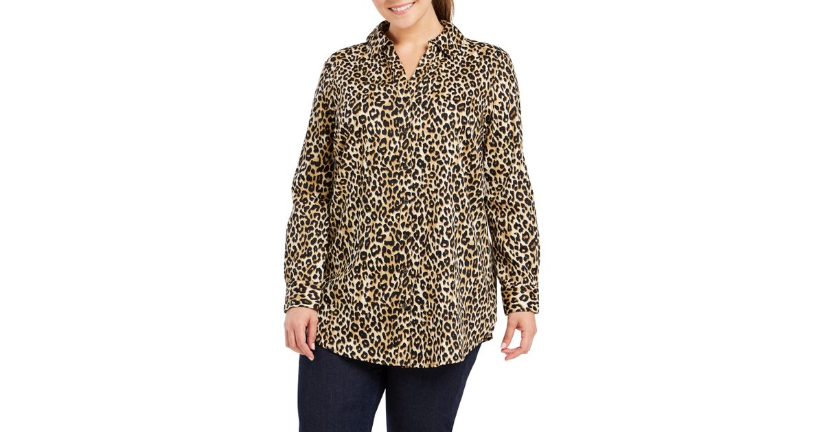 3d4bdfbe4bd Lyst - Foxcroft Faith Leopard Print Tunic Shirt in Natural