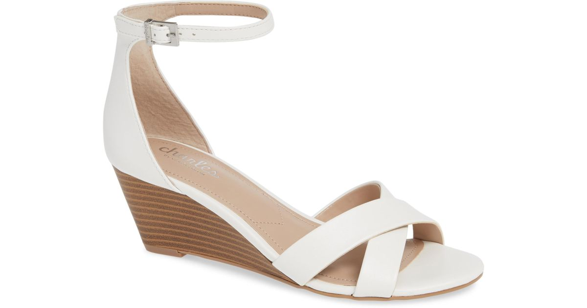 ef2d221de1b Lyst - Charles David Griffin Ankle Strap Wedge in White