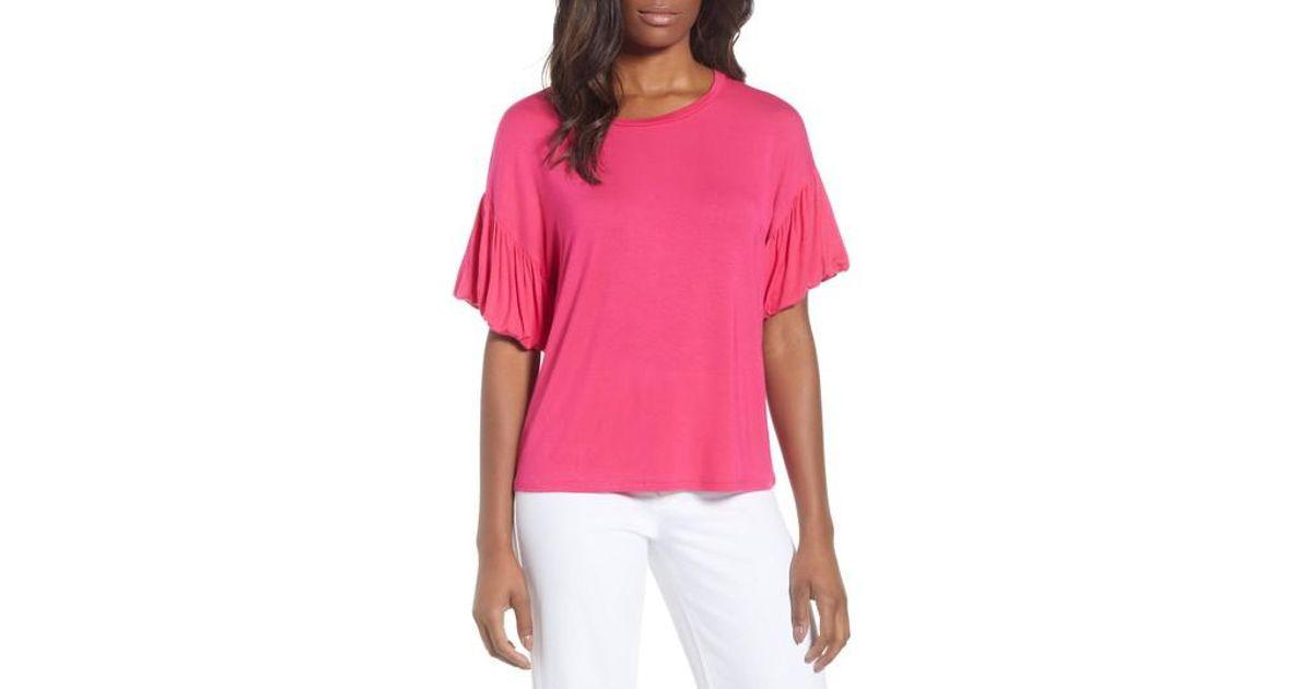 6c041f6b4b4 Lyst - Bobeau Knit Bubble Sleeve Tee (regular   Petite) in Pink - Save 72%
