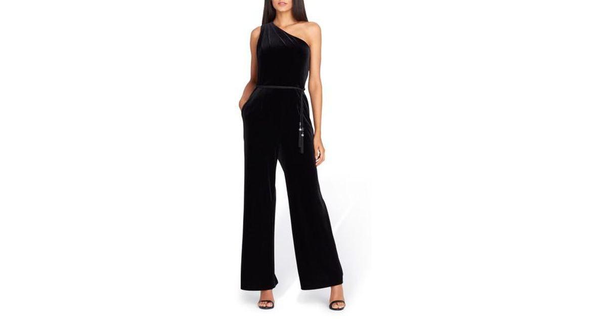 ebe8a9db79e Lyst - Tahari Asl One-shoulder Belted Velvet Jumpsuit in Black