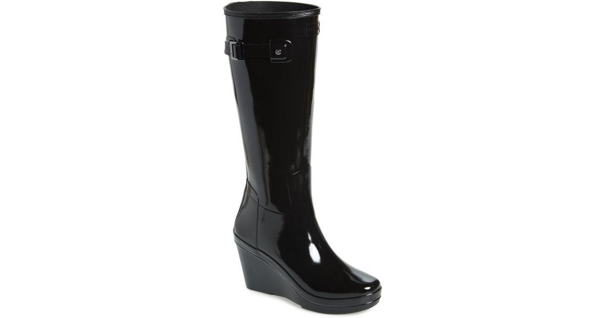 1be30a166 HUNTER Refined Knee High Waterproof Rain Boot in Black - Lyst