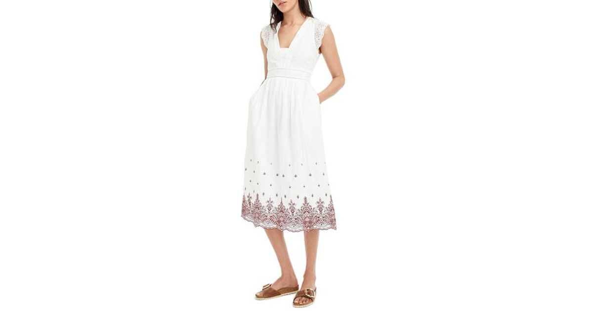 98653d86dfd5 Lyst - J.Crew Embroidered Flutter Sleeve Midi Dress in White
