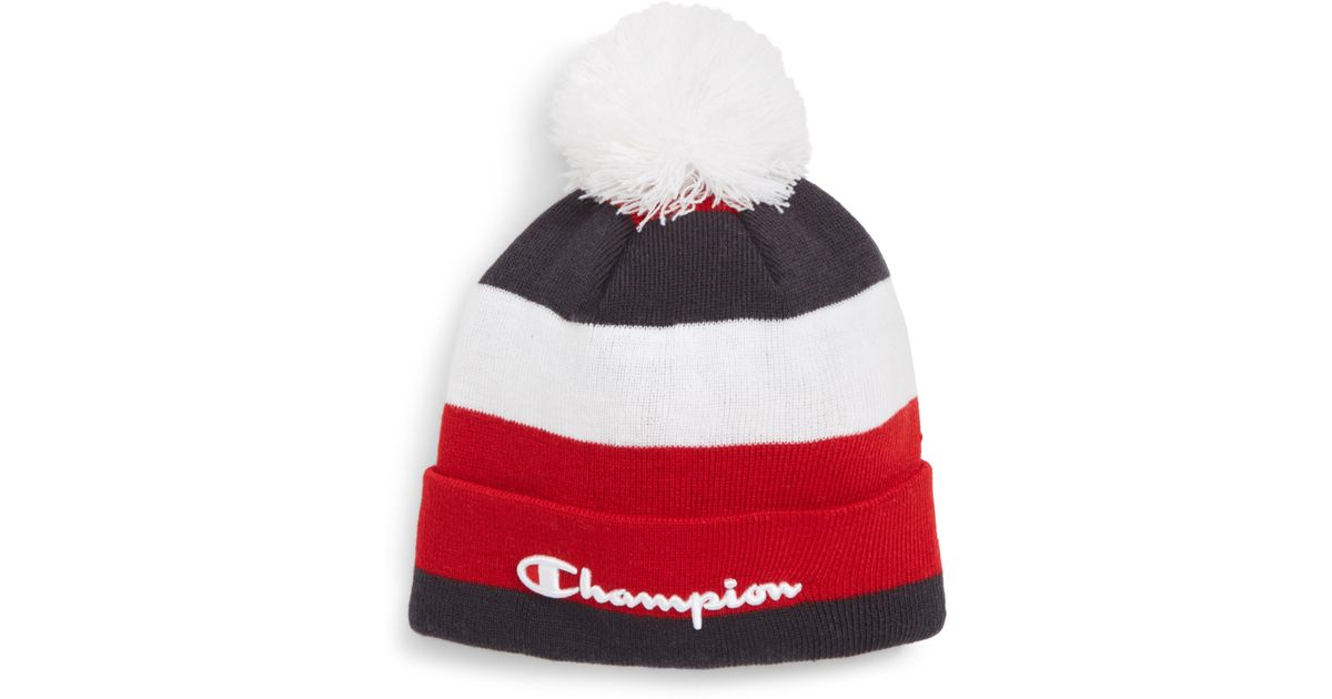 Lyst - Champion Pom Beanie in Red for Men 0320dea2f8c