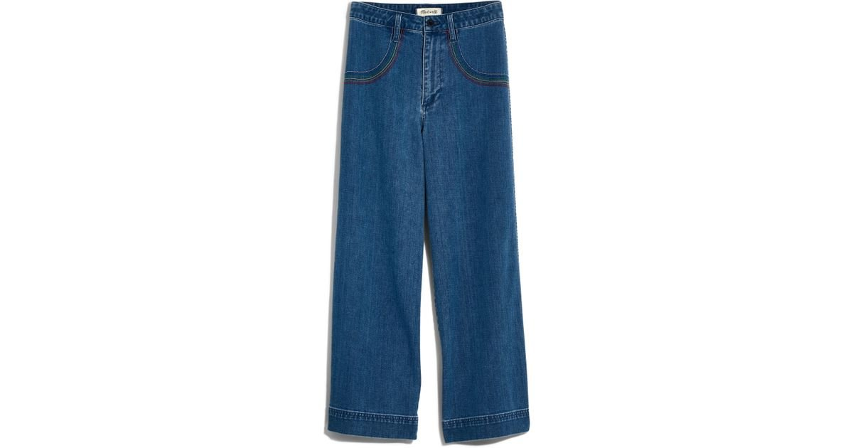 8245cd3e0 Madewell Rainbow Stitched Emmett Wide Leg Crop Jeans in Blue - Lyst