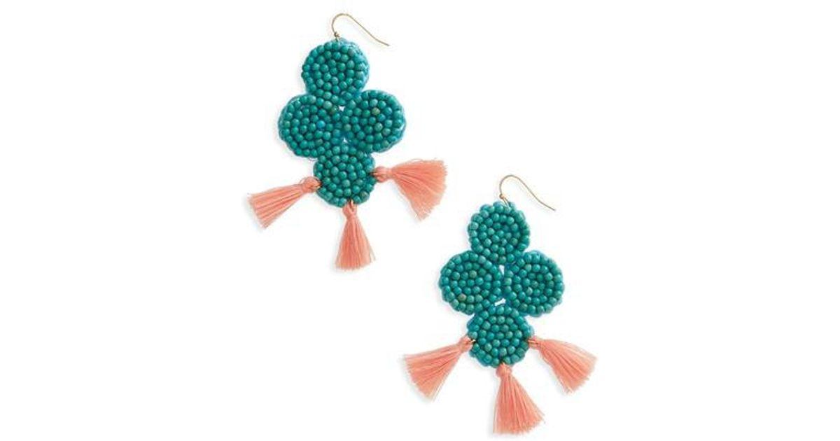 Panacea Round Beaded Turquoise-Hue Earrings iswKPZmu