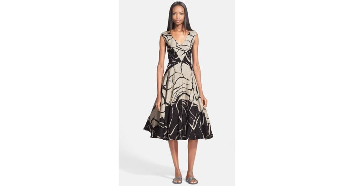 d5c6bfc275 Lyst - Tracy Reese Abstract Print Linen   Silk Jacquard Dress in Black