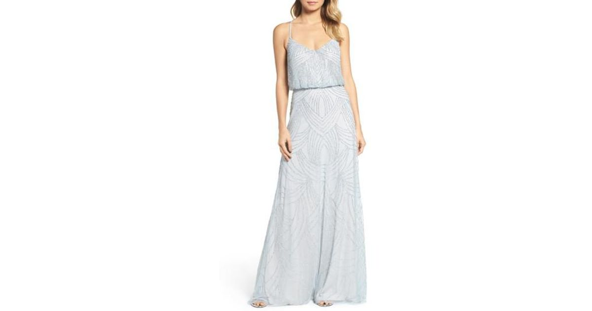 Lyst - Adrianna Papell Beaded Chiffon Blouson Gown in Blue