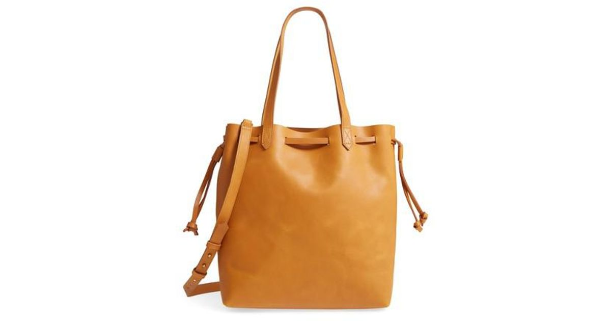 Lyst - Madewell Drawcord Transport Leather Tote in Brown 760c4298a9969