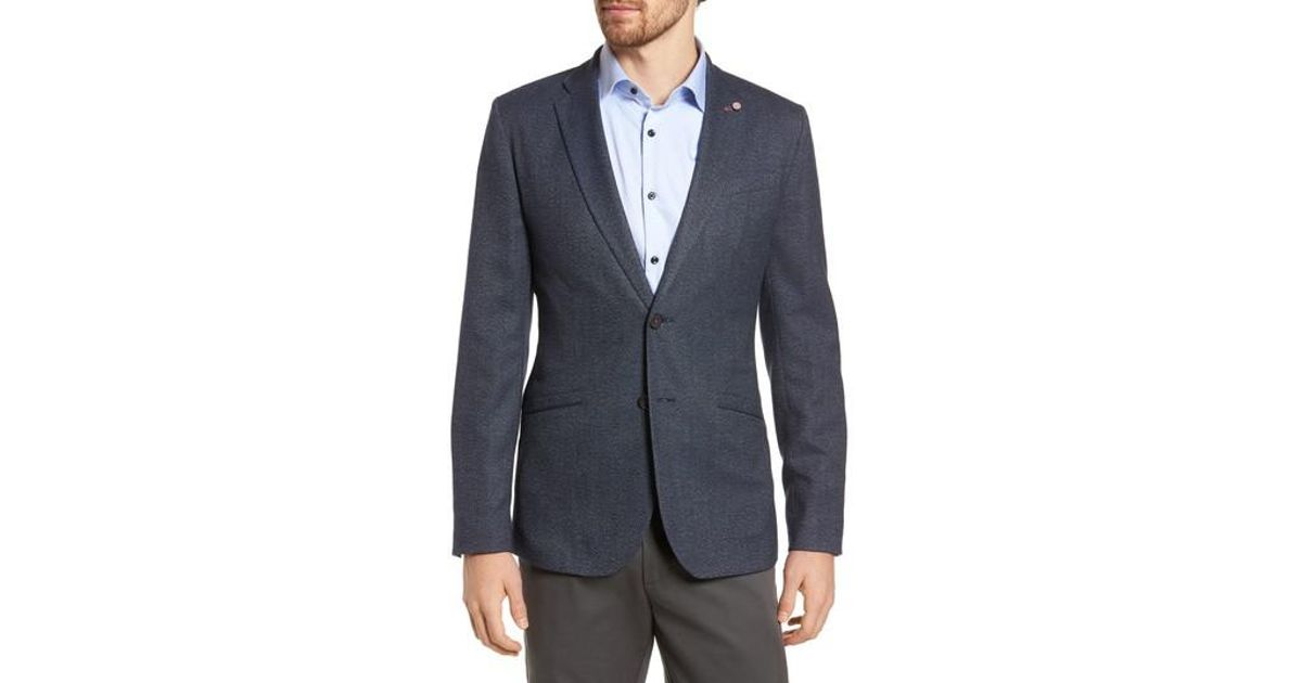 4d55d07d3c2201 Lyst - Ted Baker Burke Semi Plain Trim Fit Jacket in Blue for Men