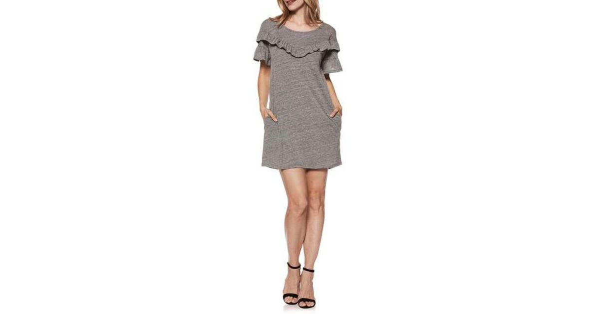 4ca1f9744d Lyst - PAIGE Adalie Ruffle T-shirt Dress in Gray