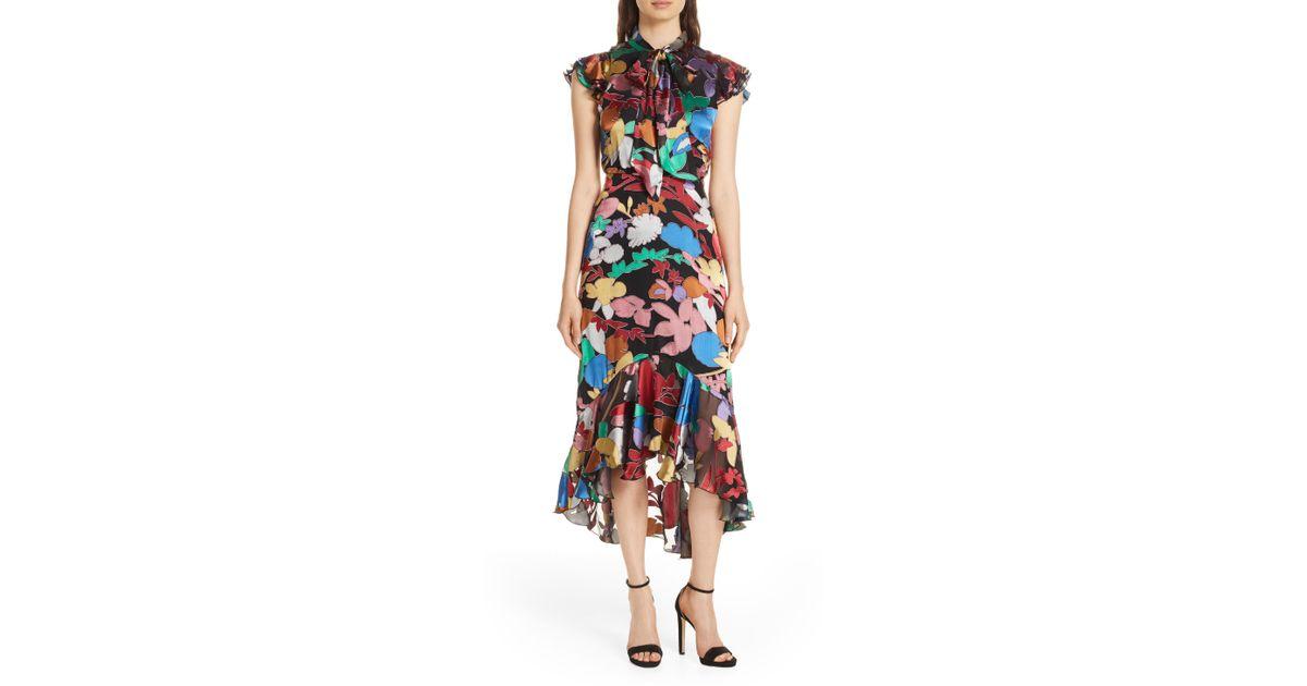 0cd3740a755 Lyst - Alice + Olivia Lessie Tie Neck Ruffle Dress in Black